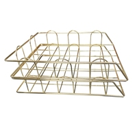 Office Supplies Metal Stackable File ID Tray Storage Box  Desk  Gold|  -