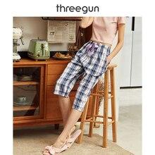 THREEGUN Pajama Pants Calf Length Women Plaid Gingham Xadrez Home Wear Cotton 2019 Summer New