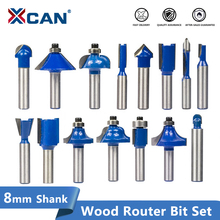 XCAN 8mm Shank Wood Milling Cutter Soild Carbide Router Bit For WoodWorking Engraving Wood Router Bit Set