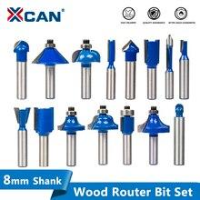 Xcan 8mm shank fresa de madeira soild carboneto roteador bit para carpintaria gravura conjunto de bits roteador