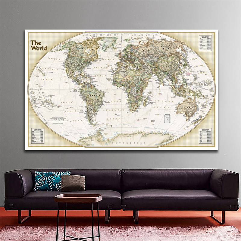 150x100cm World Map Non-woven Map The World Physical Map Without National Flag For Education And Culture