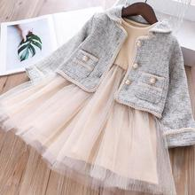 Г., осенние элегантные комплекты с платьем для маленьких девочек пальто+ платье с длинными рукавами 5 комплектов/партия