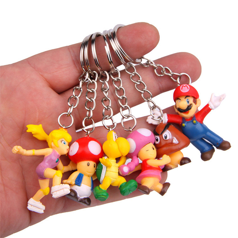 8pcs/lot Classic Super Mario Keychain Ring Figure With Keychain Mario Bros Princess Mushroom Dinosaur Keyring PVC Action Toys