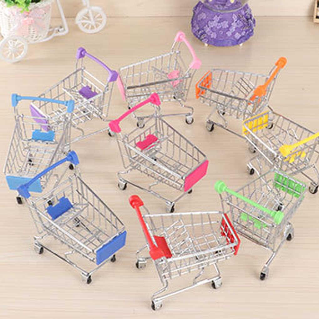 Bebê crianças simulação mini carrinho de compras brinquedos carrinho de mão supermercado armazenamento cesta carrinho de brinquedo