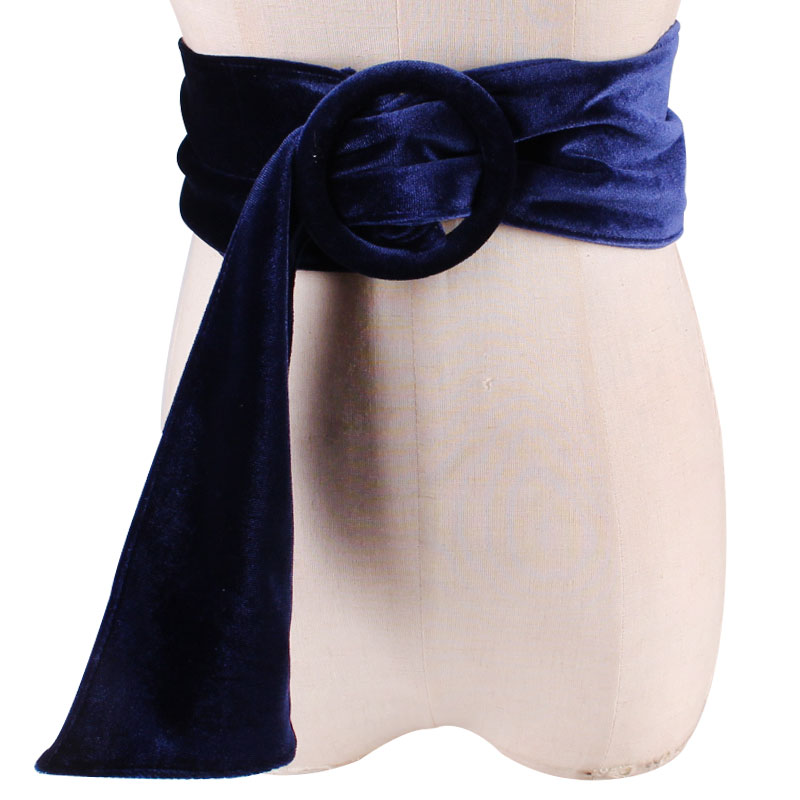 Collect Waist Belt Waist Sealing Decorate Coat Fashion Suede Black Cloth