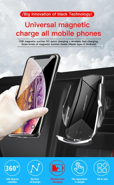 Universal Wireless Car Charger Fast Charge Car Holder Mount for all phone with Magnetic Mirco USB/Type-C Smartphone/foriPhone