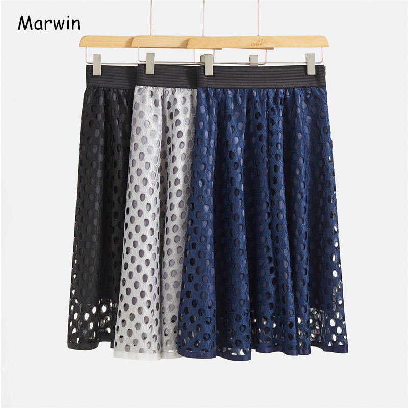 Marwin 2020 New-Coming Spring Solid Hollow Out A-line Mid-Calf Empire High Street Style Casual Women Skirts