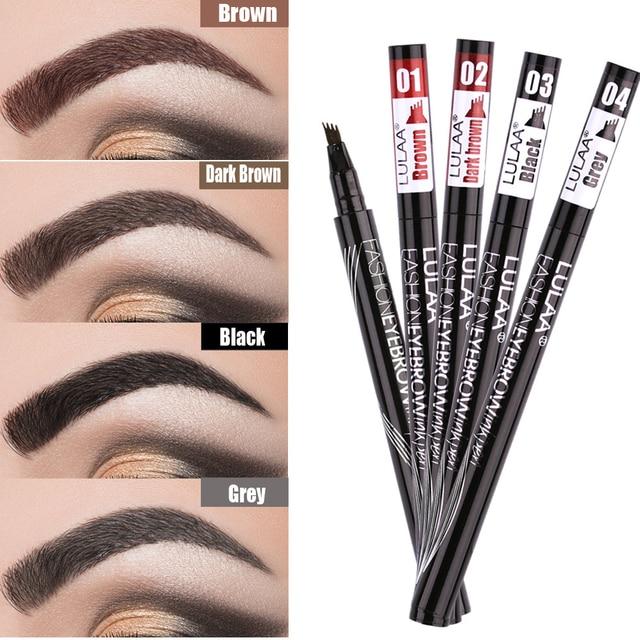 LULAA Microblading Liquid  Eyebrow Pencil 4 Fork Tips Waterproof Brown Eyebrow Tattoo Pen Long-lasting Eye Brow Makeup TSLM2