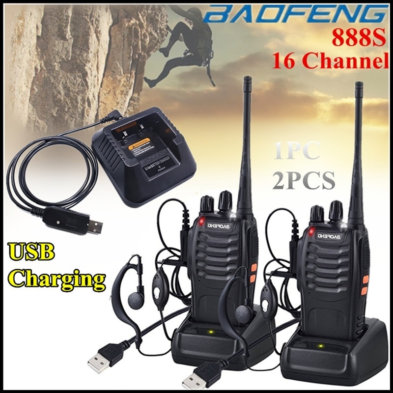 BAOFENG 888S Walkie Talkies Long Range 16 Channel 2 Way Radio UHF 400-470MHz Walky Talky Rechargeable With USB Charger Original