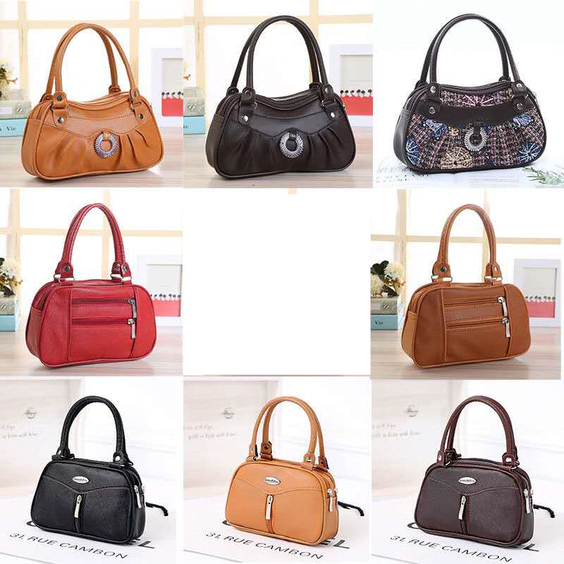 Women Bag Panelled Vintage Flower Bags For Girls Black Pu Leather Women's Messenger Bags Mother Mobile Phone Handbag