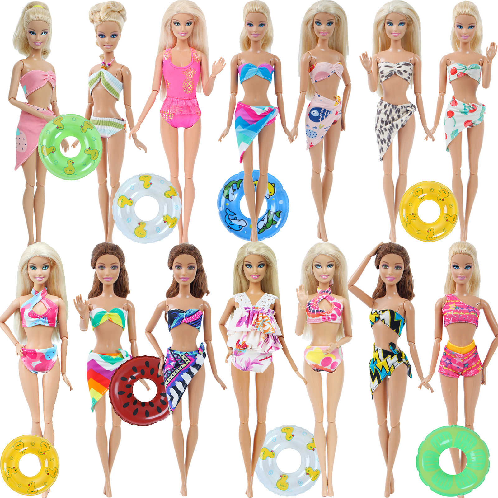 Mix Doll Swimwear + Lifebuoy / Swimming Rings Swimsuits Bikini Buoy Beach Bathing Clothes Accessories for Barbie Doll Girl's Toy
