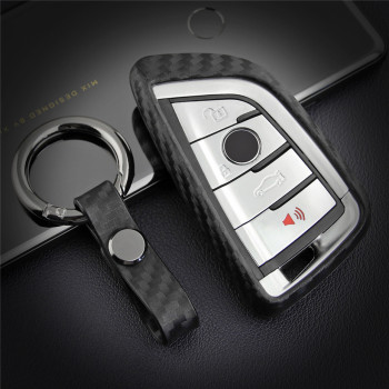 Silica Gel Carbon Fiber Car Key Case Cover Bag Shell For BMW 1 2 5 7 Series 218i X1 X3 X4 X5 X6 F15 F48 540 740 Key Ring Chain image