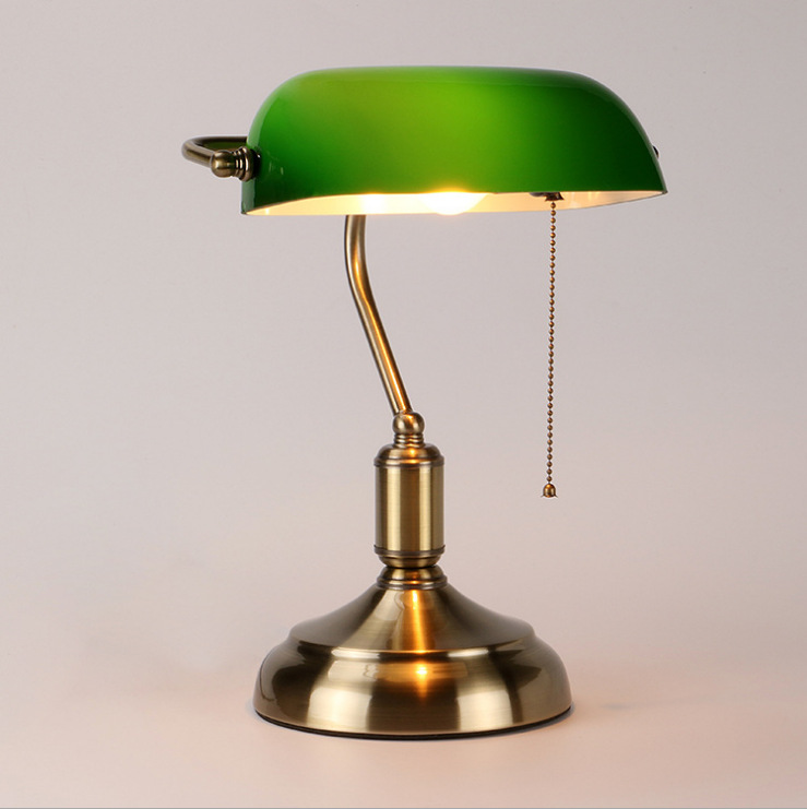 American Retro Bank Lamp Bedside Bedroom Study Eye Protection Lamp Work Study Green Lamp Shade Desk Lamp
