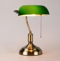 American Retro Bank Lamp Bedside Bedroom Study Eye Protection Lamp Work Study Green Lamp Shade Desk Lamp