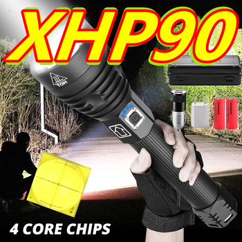 2021 XHP90.3 The Most Powerful Usb Zoomable Led Flashlight Xhp70.2 Tactical Flash Light Torch by 26650 or 18650 battery for hunt image