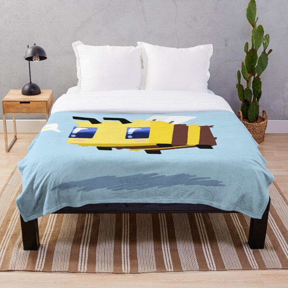 Minecraft Bee Throw Blanket Soft Sherpa Blanket Bed Sheet Single Knee Blanket Office Nap Blanket