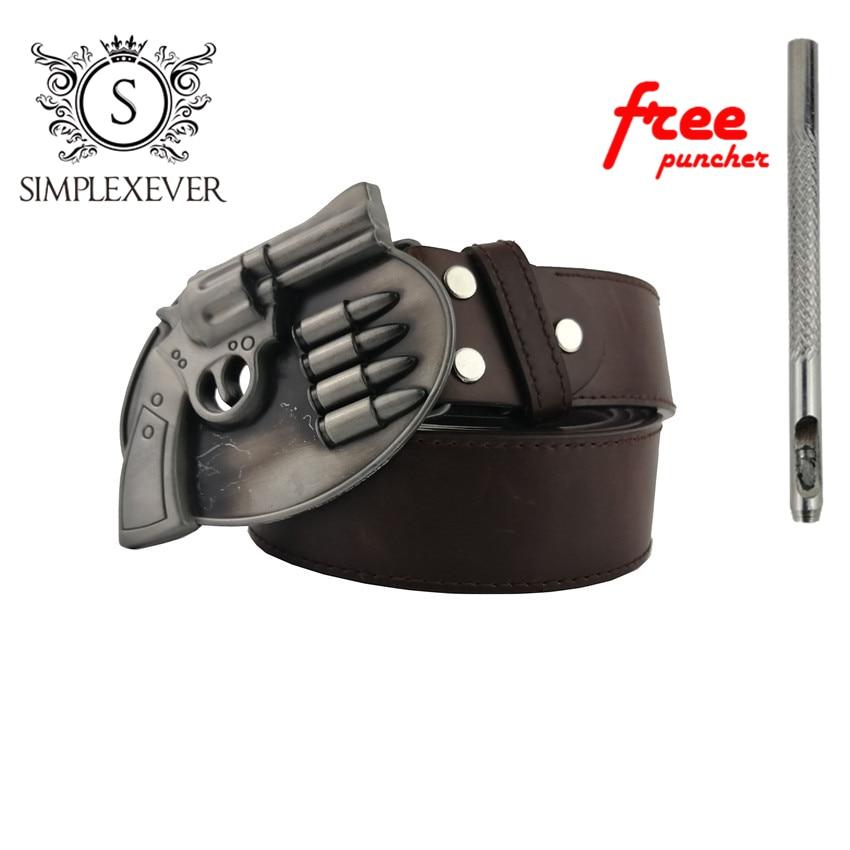 Silver Belt Buckle with Leather Belt Western Belt Buckle Gun Metal Belt Buckle Suitable for 4cm Width Belt Drop Shipping