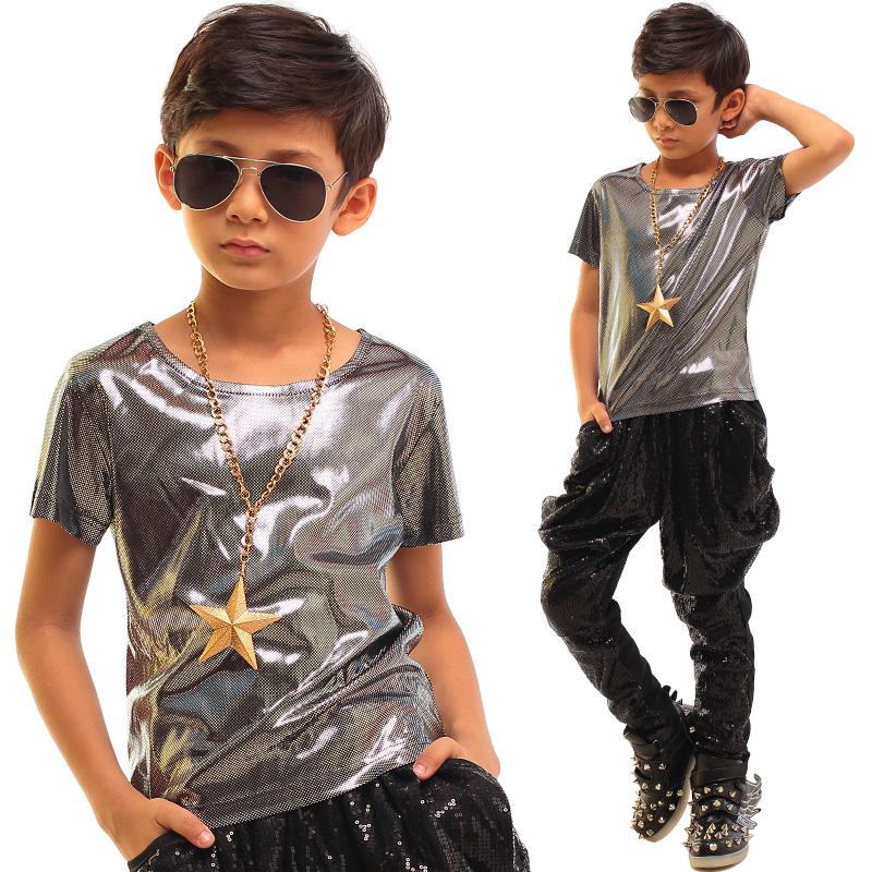 Children's Day Jazz Dance Costumes For Boys Performance Costumes Stage Dance Show Wear Silver T-shirts Hip Hop Clothing DQS2789