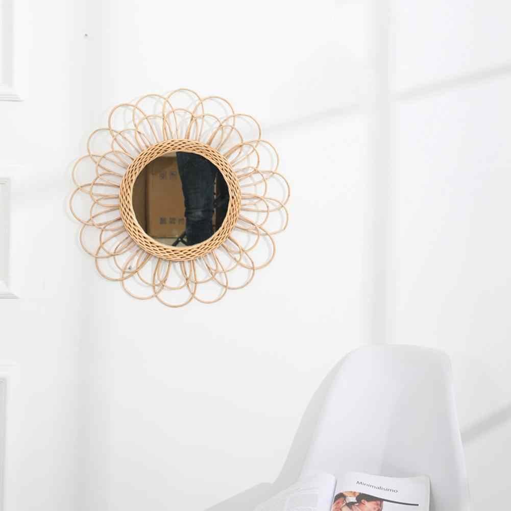 Nordic Eye Arte Rattan Parete Frame Specchio Boho Nordic Wicker Dressing Trucco Specchi di Vetro per Home Office Soggiorno Corridoio DierCosy Tools Hanging Mirror Frame