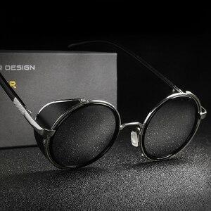 New Retro Steampunk Sunglasses Men Women Round Designer Metal Steam Punk Shields Sunglasses UV400 Resin Lenses Sun Glasses