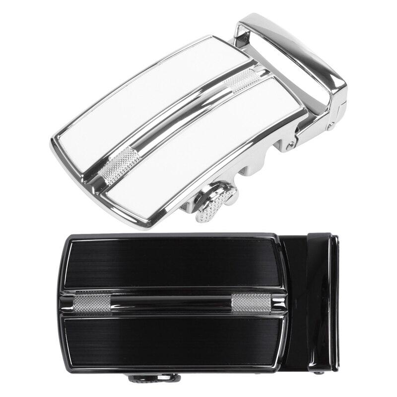 FGGS-2 Pcs Men'S Solid Buckle Automatic Ratchet Leather Belt Buckle, Silver & Black + Silver