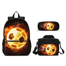 3D Fire Soccer 2019 New Children School Bags Kids School Backpack Set Children Mochila Fashion Football Print Schoolbag Backpack(China)