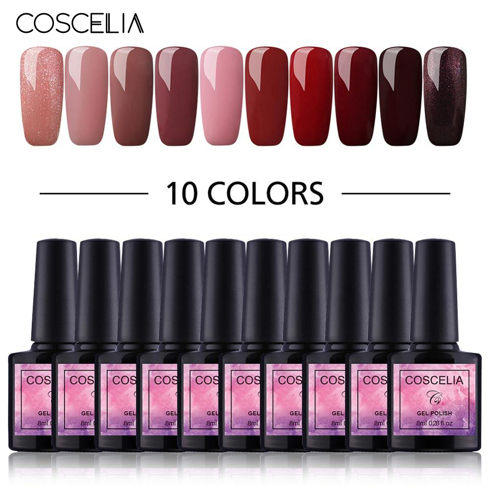 COSCELIA 6/8/10 Colors Gel Nail Polish Nail Kits For Nails Semi Permanent Soak Off Gel Polish Varnish UV Nail Set