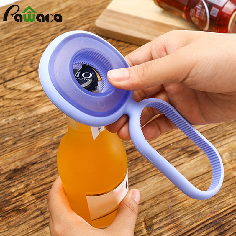 Multi-function Silicone Three-in-one Non-slip With Gear Beer Bottle Opener Beverage, Jar Can Opener For Kitchen Outdoors Home