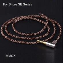 Resina DIY fone de ouvido cabo mmcx ie40 para Shure se215 535se846DIY único cristal de cobre febre linha de atualização do fone de ouvido