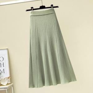 Image 4 - Женская длинная юбка в рубчик, зимняя утепленная трапециевидная юбка из смеси кашемира, плиссированная плотная вязаная юбка до середины икры, Осень зима
