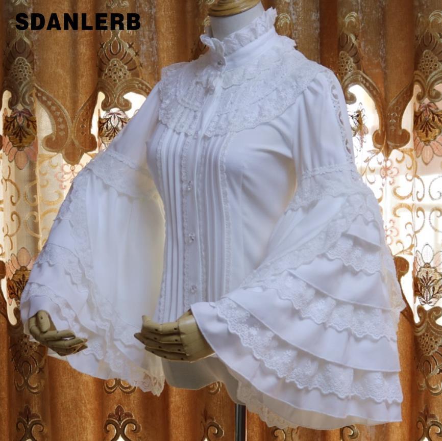 Dentelle patchwork flare manches chemise en mousseline de soie femmes rétro col montant princeless haut chemisier grande taille 2XL