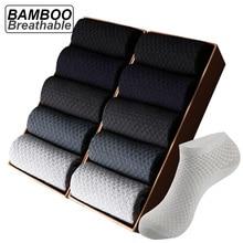 10Pairs/lot Bamboo Fiber Men Socks Large Size Short Ankle Business Black Male Meias Socks Breathable Men Plue Size EU38-48