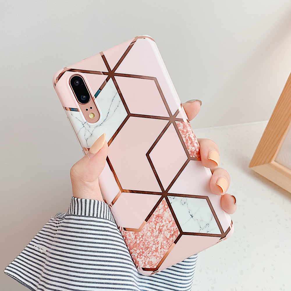 H7b37ba121bb94b8dabdebc71f67d0bfao - LOVECOM Plating Geometric Marble Phone Case For Huawei P40 Pro P30 P20 Lite Pro Mate 30 20 Lite Glossy Soft IMD Phone Back Cover