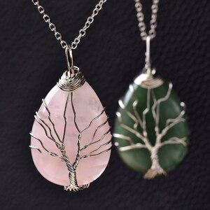 Image 3 - 1pcファッションシンプルな天然水晶生活の木のペンダント治癒お守りクォーツネックレス増加の魅力ユニセックスジュエリーdiyギフト