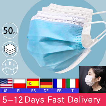 50pcs Disposable Mask Non Woven Face Mouth Mask 3 Layer Face Mask Masks  Elastic Earloop Breathing Mask Filter White Mask