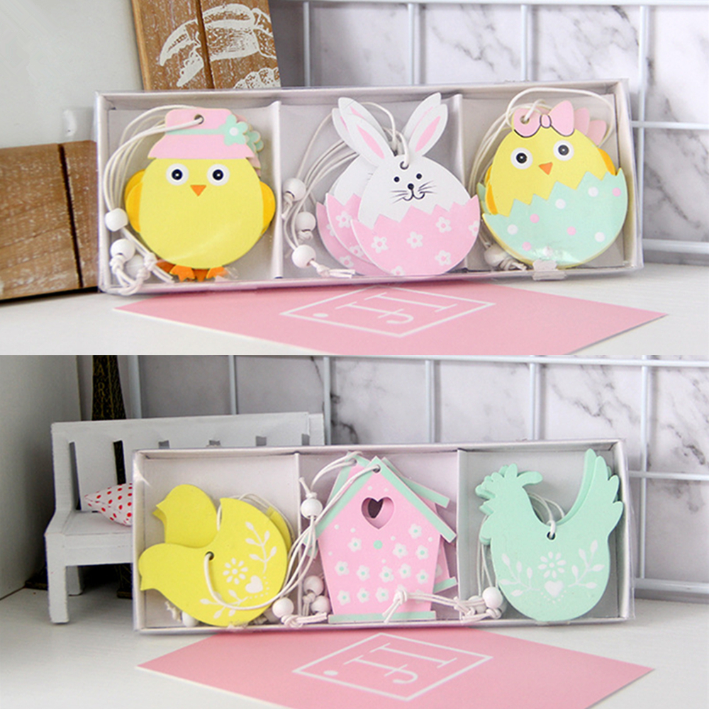 9pcs Easter Rabbit Wooden Pendant Decoration DIY Wood Hanging Crafts Cute Bunny Easter Ornaments Party Supplies Wood Crafts Gift(China)