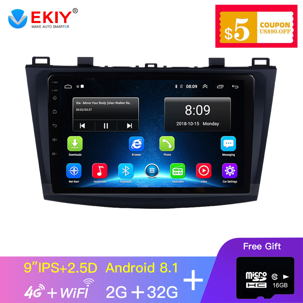 EKIY 9'' IPS GPS Android <font><b>Car</b></font> Multimedia Auto <font><b>Radio</b></font> For <font><b>MAZDA</b></font> <font><b>3</b></font> 2009 <font><b>2010</b></font> 2011 2012 4G Wifi 2Din Navigation Navi Stereo Player image