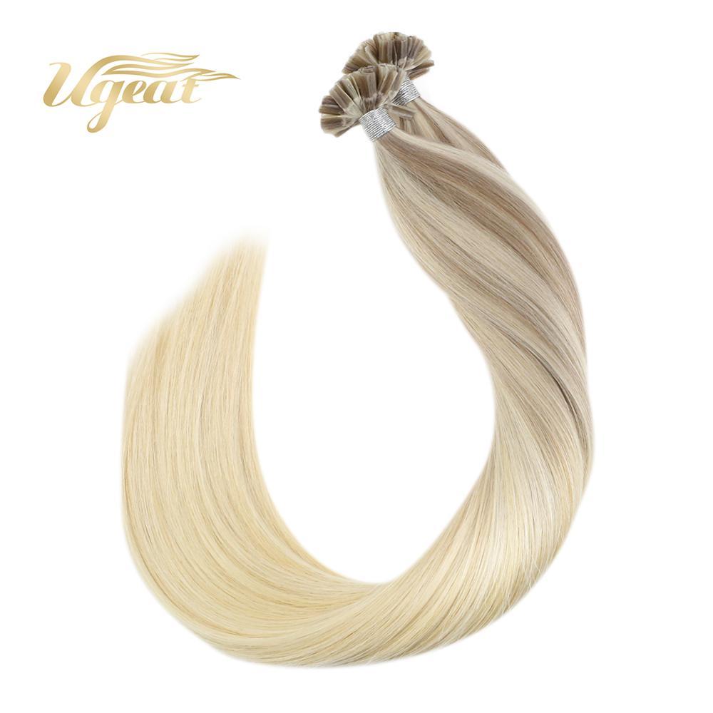 Ugeat U Tip Hair Extensions Straight Brazilian Human Hair 14-24