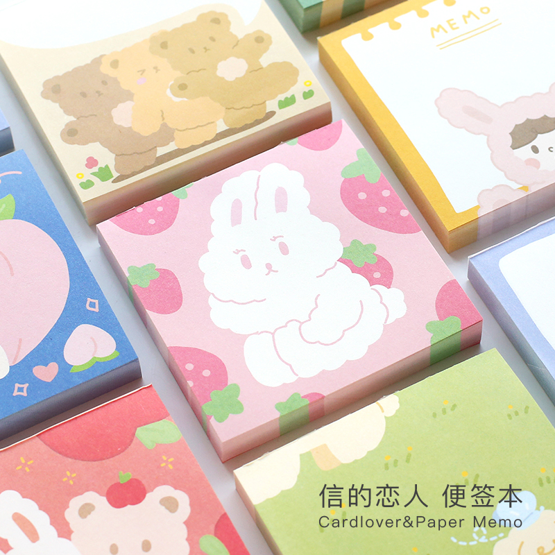 100 Sheets Cute Animal Fruits Memo Pad Message Notes Decorative Notepad Note Paper Memo Stationery Office Supplies