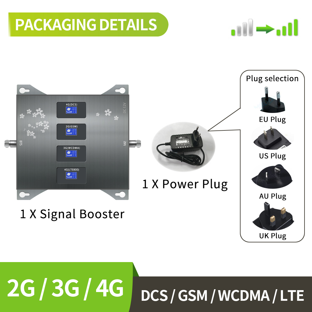 BAND 20 800 900 1800 2100 Mhz Cell Phone Booster Mobile Signal Amplifier 2G 3G 4G LTE Cellular Repeater ,antenna NOT Included