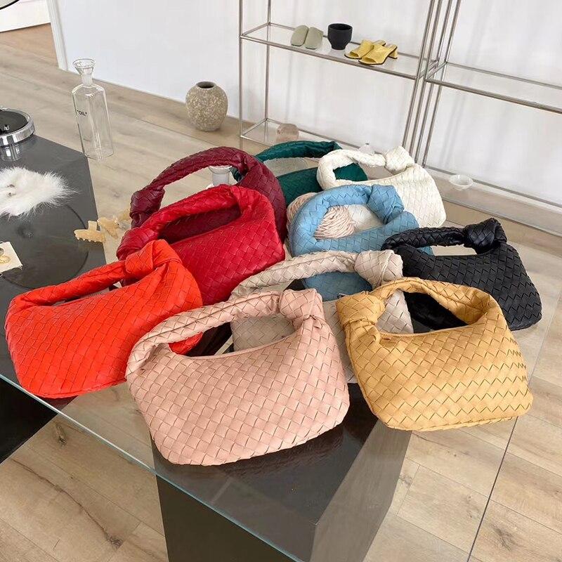 2021 модная плетеная сумка ручной работы, роскошная плетеная кожаная сумка на плечо с принтом, женская сумка-хобо через плечо из ПУ кожи с узло...