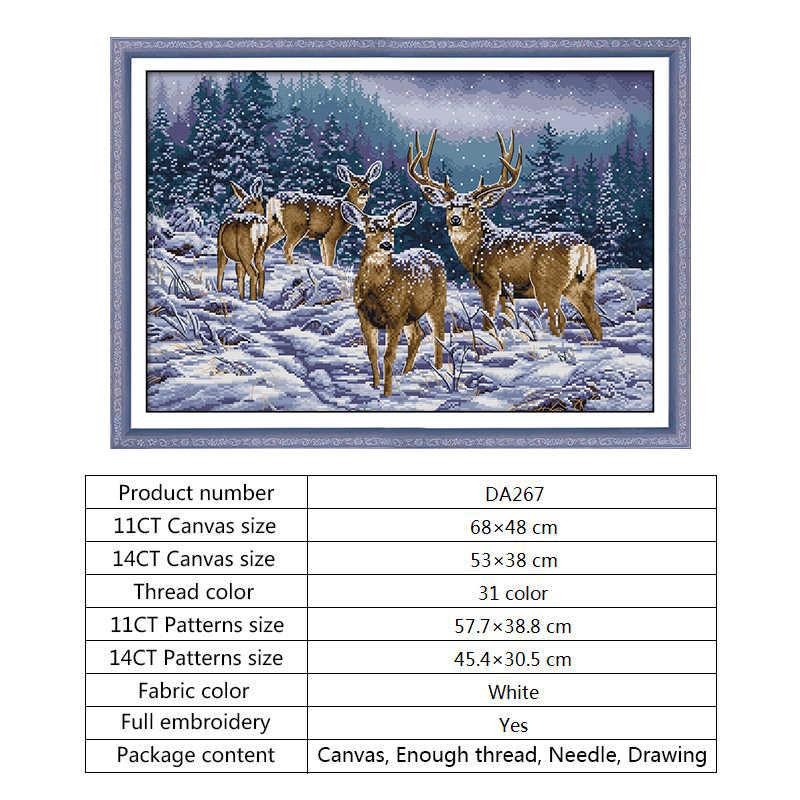 Inverno Deer Ricamo a punto Croce Kit Regalo Di Natale FAI DA TE Cucito 14ct 11ct Stampato su Tela di Canapa Count Punto Croce Complementi Arredo Casa