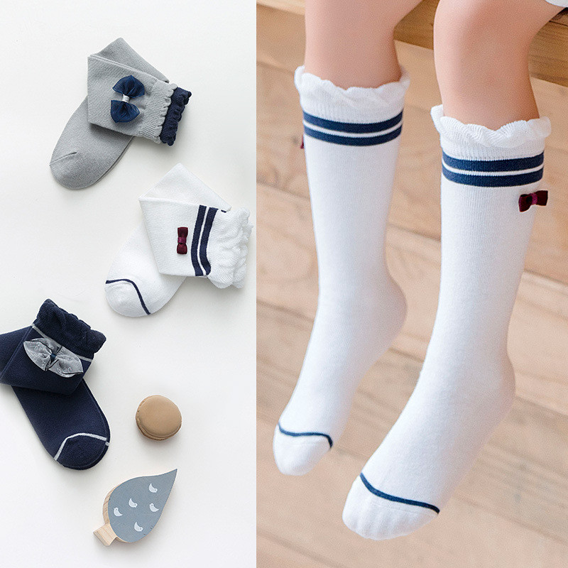 Kids Girls Socks Bowknot Children's Knee High Socks Cotton Long Baby Leg Warmers Fashion Cute Baby Girls Socks Age For 3-12Year