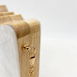 Image 4 - 2020 Wood Personality Splicing White Acrylic Retro Unique Half Face Hard Box Evening Bag Ridesmaid Handbag Luxury Clutch Purses