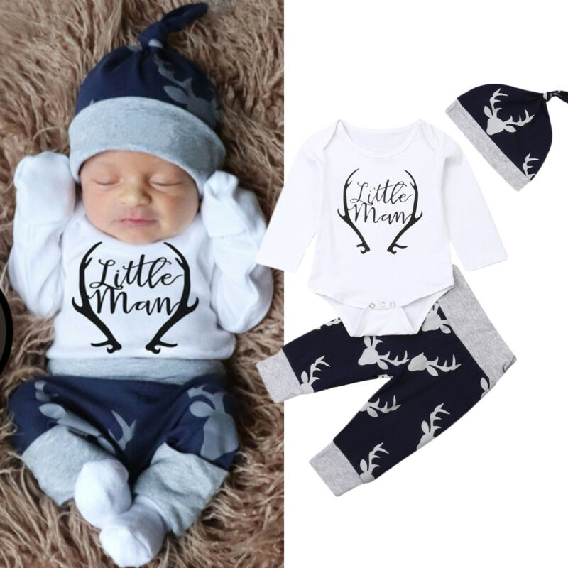 3pcs Newborn Baby Girls Boys Christmas Clothes Cotton Deer Print Long Sleeve Romper+ Pants +Hat Outfits Clothes Xams Set