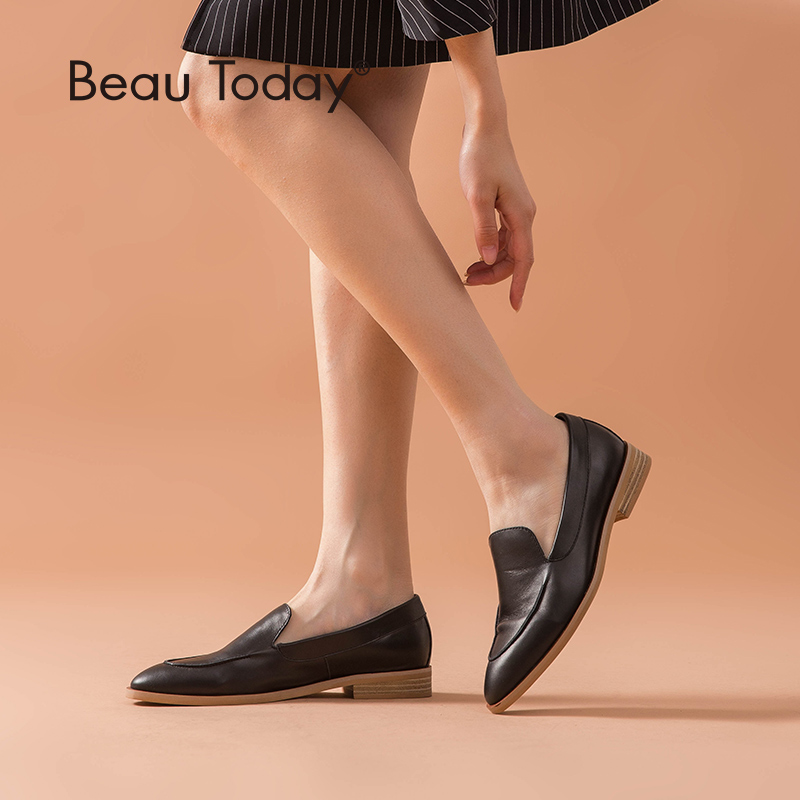 BeauToday Loafers Genuine Leather Pointed Toe Slip On Spring Autumn Comfortable Handmade Calfskin Shoes Women 27100