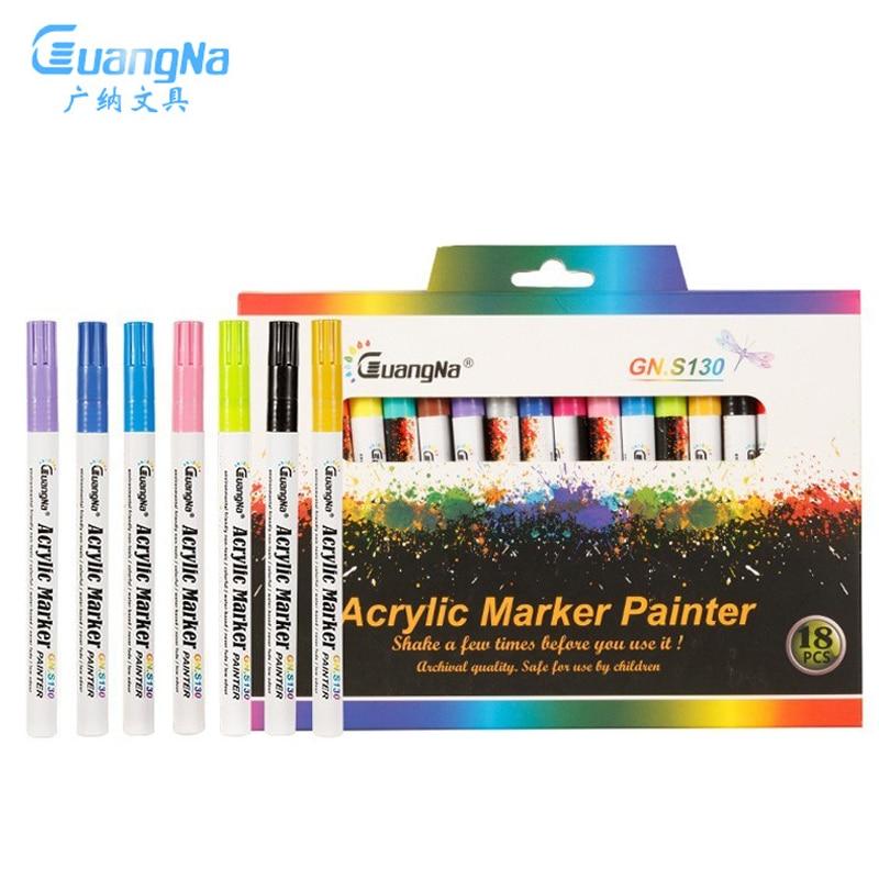 20 Colors Acrylic Paint Marker Pen Art Marker Pen For Ceramic Rock Glass Porcelain Mug Canvas Permanent Paint Markers Stationery