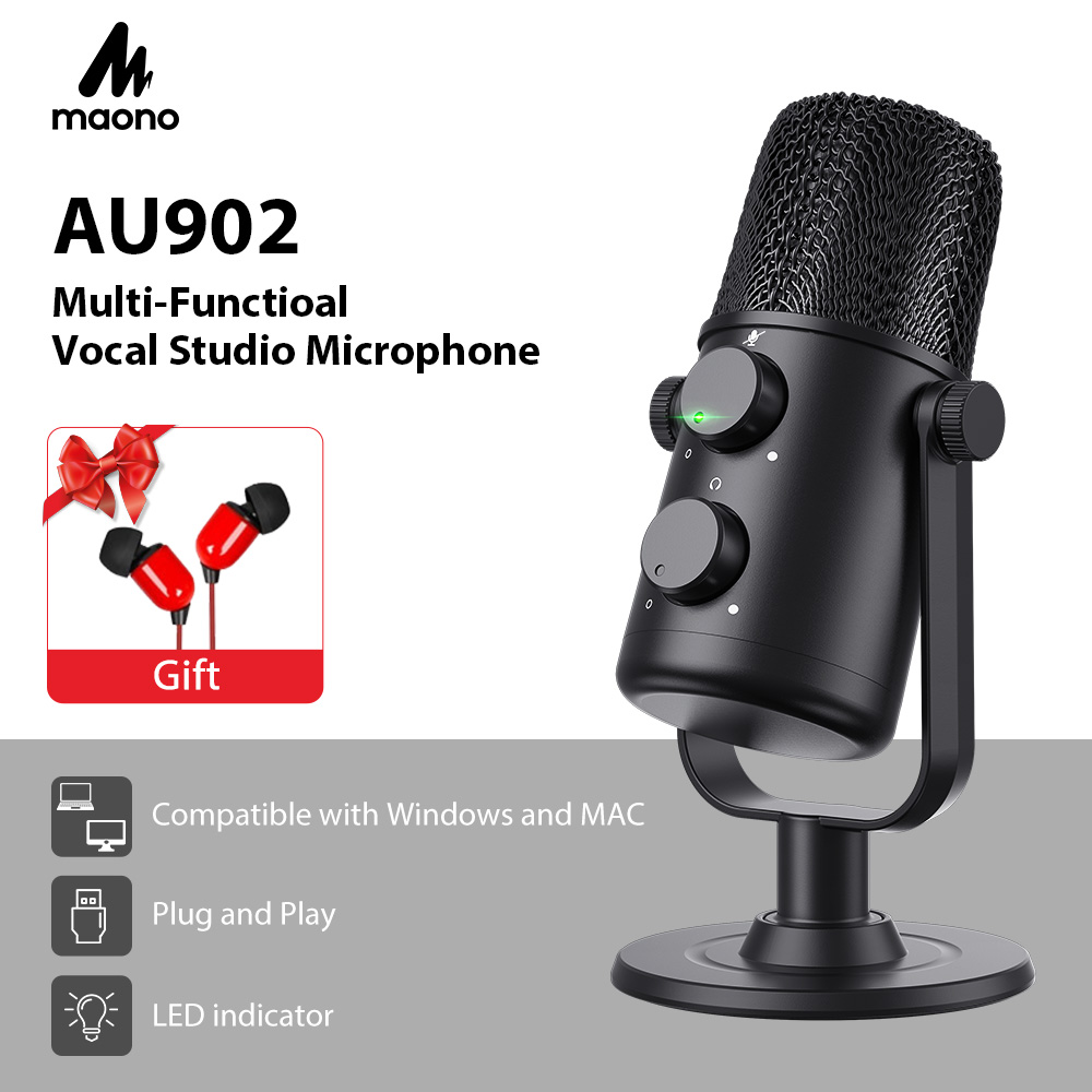 MAONO AU-902 USB Condenser Microphone Cardioid Sreaming mikrofon Podcast Studio Mic Metal Recording microfone for YouTube Skype