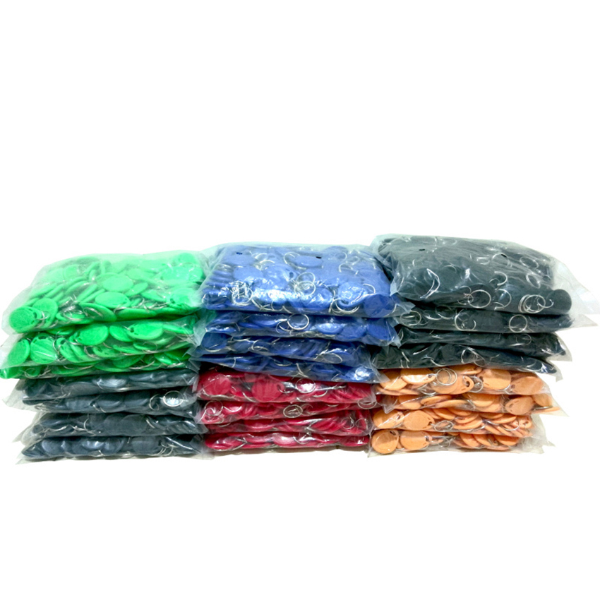 100pcs 125KHz TK4100 Keyfobs RFID Tag Key Ring Proximity Token Access 8 Colors For RFID Tags Access Control