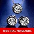Нимфа синтетический бриллиант набор серьги подвеска ожерелье 1.0ct D Цвет круглый 925 стерлингового серебра, хорошее ювелирное изделие, подаро...